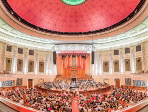 Inside Brisbane town hall during a performance held by QSO.