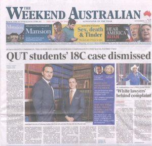 Weekend Australian front page. Brisbane headshots.