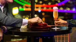 eating in a modern bar