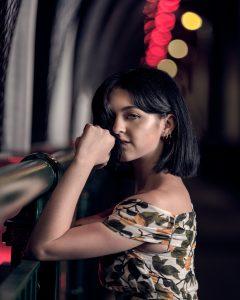 Fashion portrait of girl model on the Story Bridge in Brisbane.