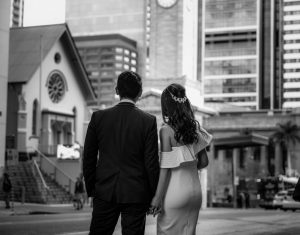 Wedding photograph of bride and groom in Brisbane CBD