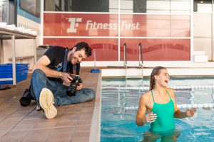 Fun photo of Brisbane commercial photographer Joseph Byford and model Shayna Jack.