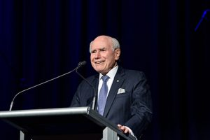 John Howard talking at Awards night. Photography by brisbane photographer Joseph Byford
