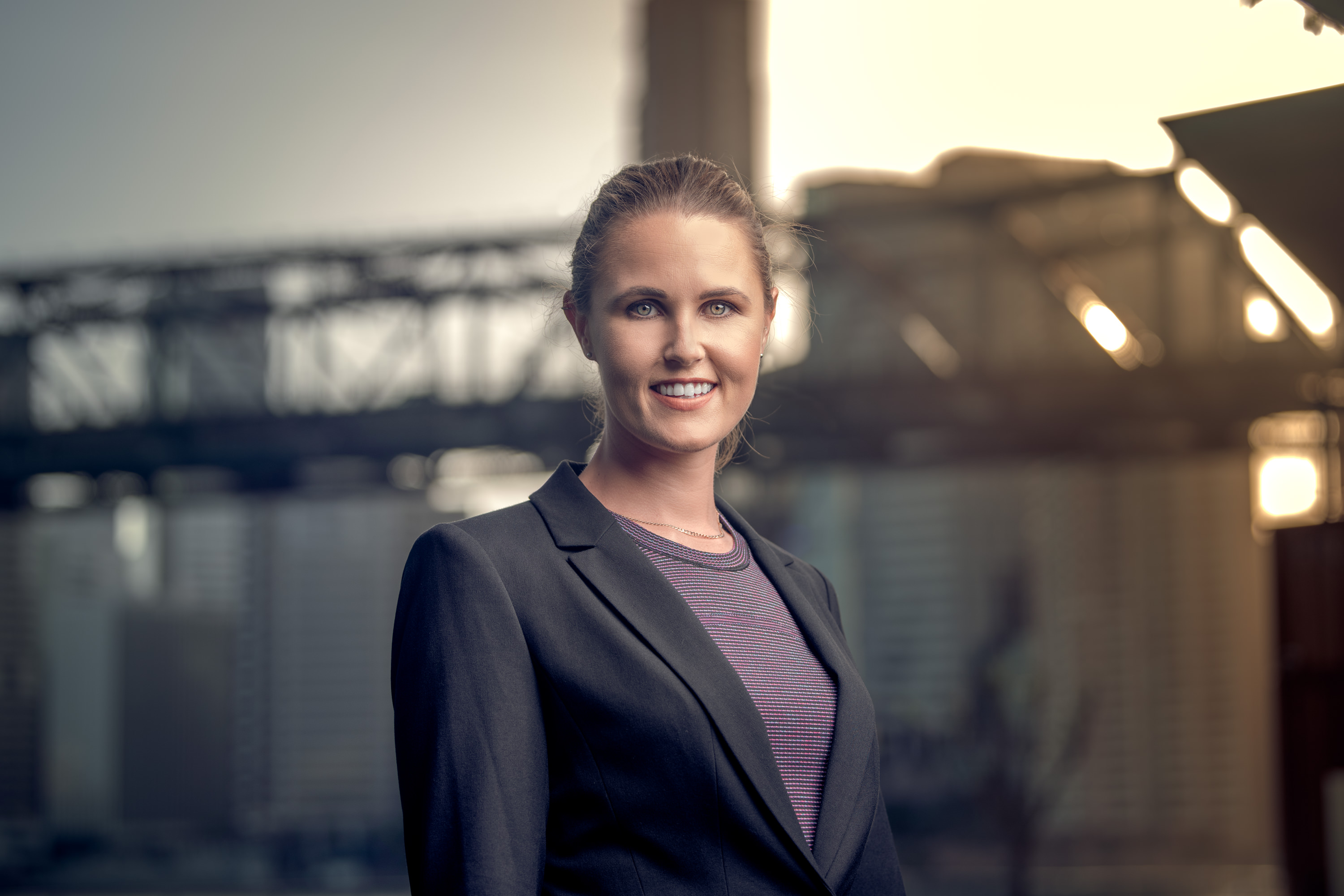Corporate portrait of a businesswoman in Brisbane City. Headshot photographed by Brisbane photographer Joseph Byford.